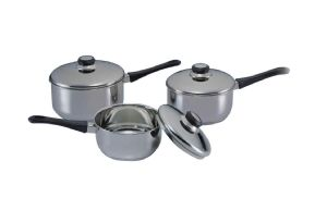 3 Piece s/steel saucepan set